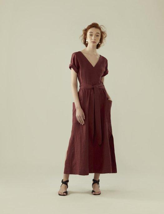 RYE FRONT WRAP LINEN LONG DRESS (RED ONION), $199