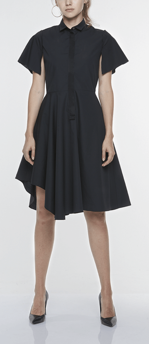 FITTED SHIRT DRESS WITH CUT-AWAY SLEEVES AND ASYMMETRIC SKIRT, $249