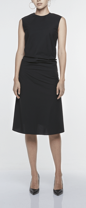 SINGLE-SEAM DRESS WITH DRAPED FRONT, $249