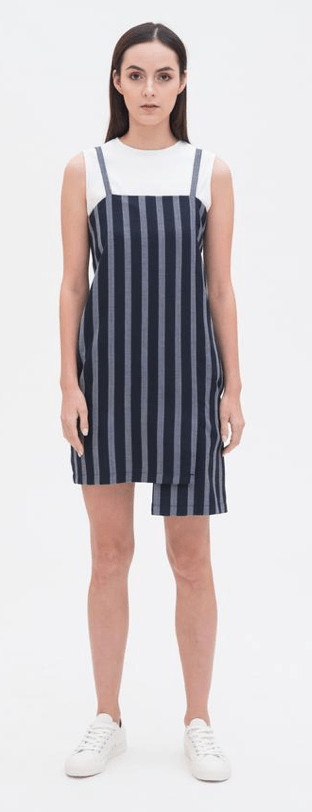 Asymmetric Slip Dress in Checked, $79