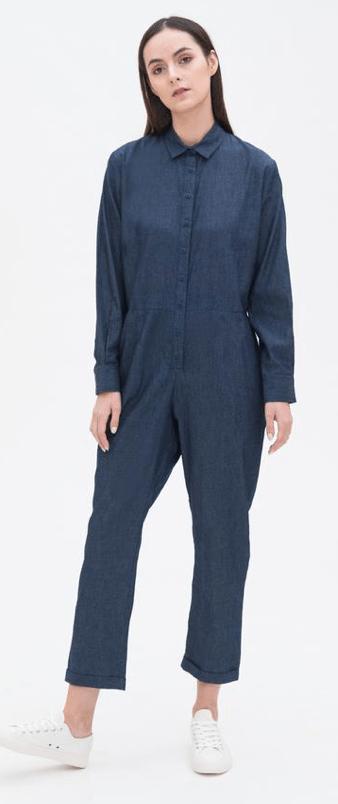 Utilitarian Jumpsuit in Deep Denim, $109