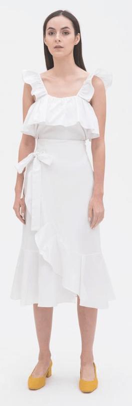 Ruffled Sleeveless Top in White, $69Ruffled Wrap Skirt in White, $89