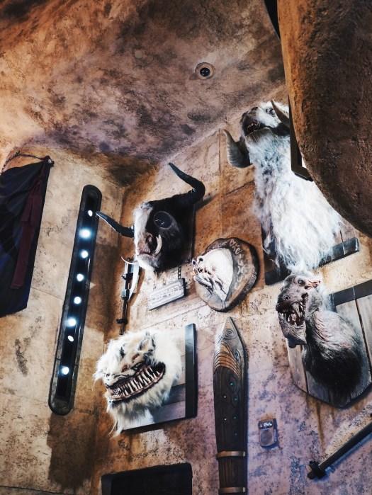 On the wall — busts of a Kod'yok, Tauntaun, Corellian hound, Nexu and Anooba.