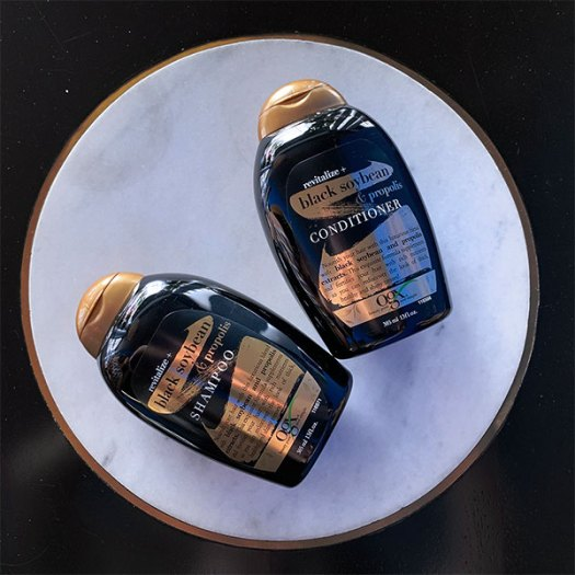 OGX Revitalize + Black Soybean & Propolis Hair Care Line includes shampoo and conditioner. Now available at all Guardians and Watsons stores islandwide. and online on Lazada at $16.90 each.
