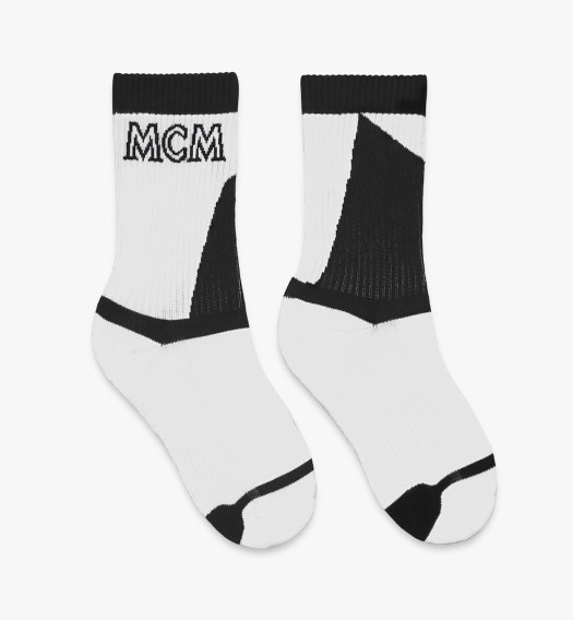 MCM Unisex Colourblock Socks White Black $130