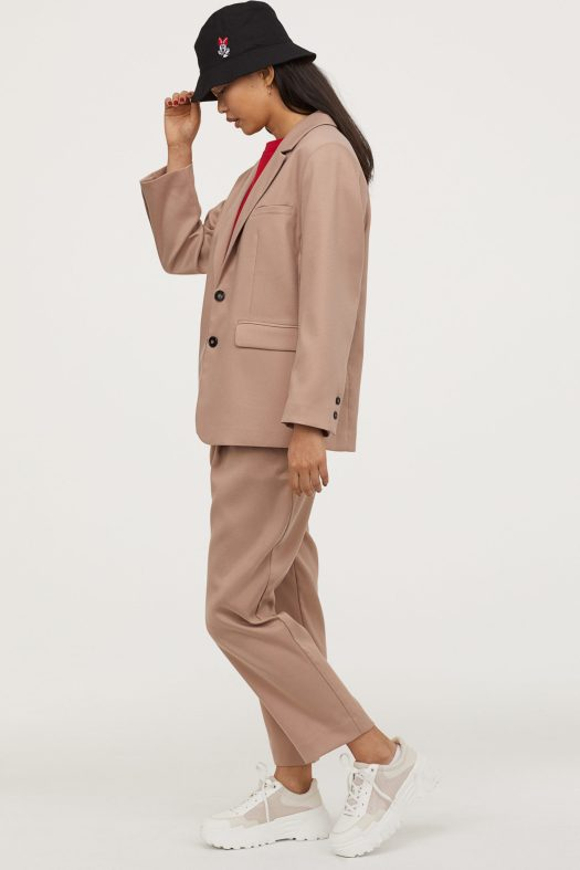 Straight-cut jacket, $59.95 ; Ankle-length trousers, $29.95 ; Bucket hat with embroidery, $19.95