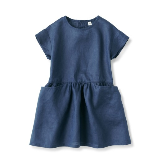 French Linen Washed Short Sleeve Baby Dress $39