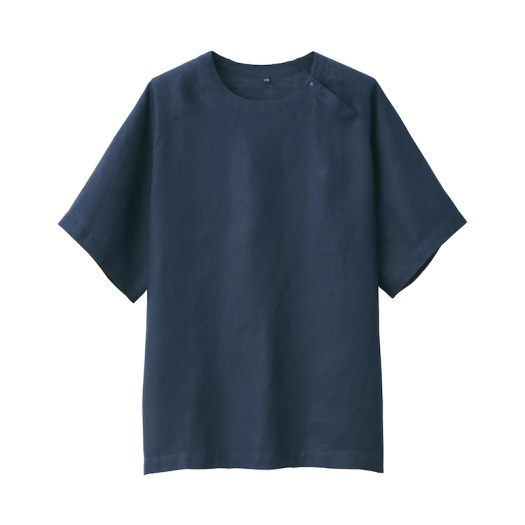 French Linen Washed Pullover Short Sleeve Shirt $49