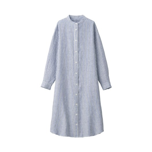 French Linen Washed Stand Collar Dress $69