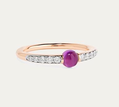 Pomellato M'ama non M'ama 18-Karat Rose Gold, Diamonds, and Amethyst Ring $4,675.16