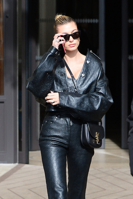 Hailey Bieber with Saint Laurent Kaia Small Satchel in Black Smooth Leather