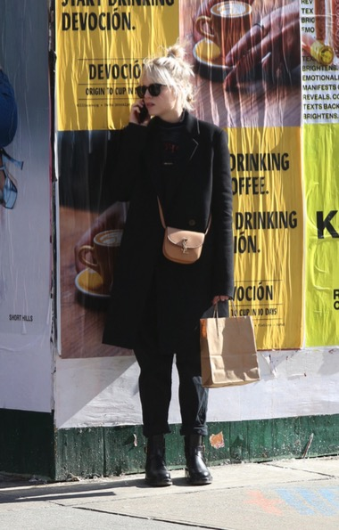 Lucy Boynton with Saint Laurent Kaia Mini Satchel in Tan Smooth Vintage Leather