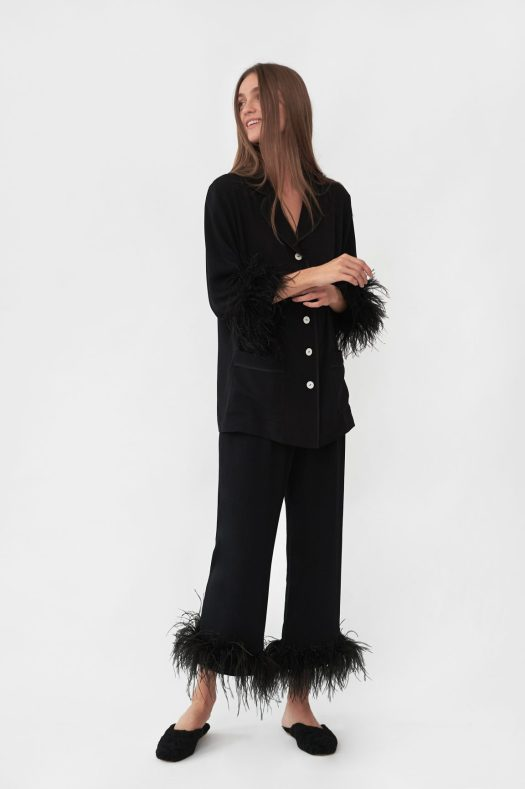 Sleeper Party Pajama Set with Feathers in Black, USD320