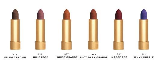 111 Elliott Brown, a dark brown; 210 Julie Rose, a rich pink; 307 Louise Orange, a bright orange; 308 Lucy Dark Orange, a deep orange; 511 Madge Red, an intense red; and 711 Jenny Purple, a vivid purple.