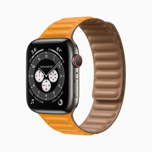 Apple Watch Series 6 Stainless Steel Case with Orange Band
