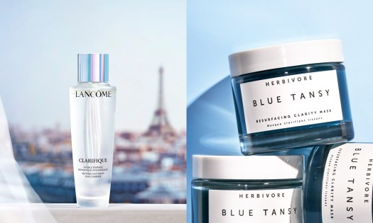 Lancome's Clarifique Dual Essence and Herbivore's Blue Tansy Resurfacing Clarity Mask exfoliate your skin to give you fairer skin over time.