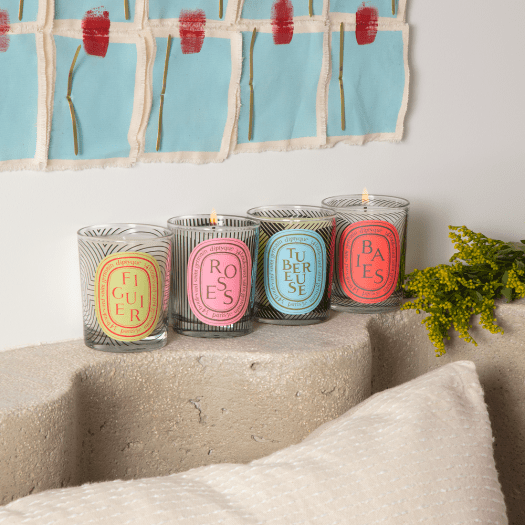 DIPTYQUE 'DANCING OVALS' LIMITED EDITION CANDLES, $59 (70g) or $115 (190g), available at escentials | Indulgence has to come in the form of diptyque candles. Here, you're looking at a series made in collaboration with artist Yorgo Tloupas, of playful black-and-white lines and graphic motifs decorating their iconic Baies, Figuier, Roses and Turberose candles.