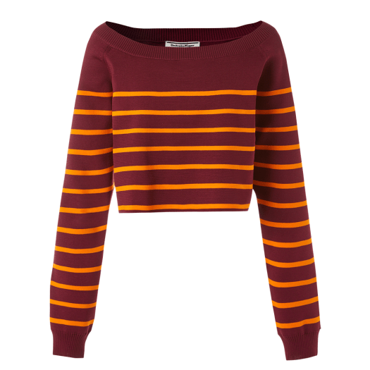 WS Boat Neck Knit Top in Burgundy