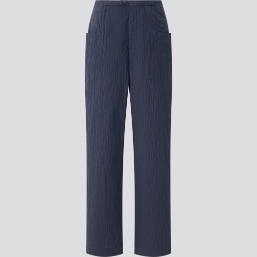 Cotton Seersucker Straight Cropped Pants, $49.90