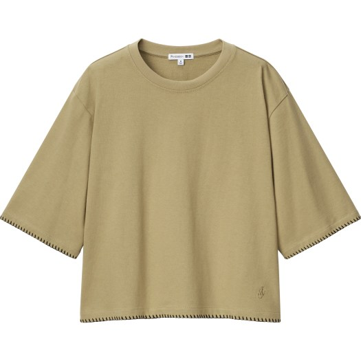 Women's JW Anderson Cotton Blanket Stitch Half Sleeve T-shirt, $19.90