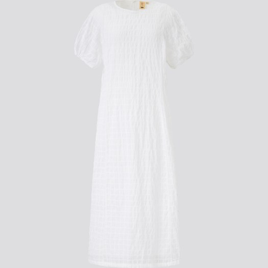 Cotton Dobby Short Sleeve Long Dress, $59.90