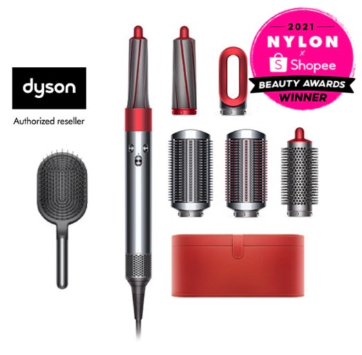HAIR IRON / CURLER —Dyson Airwrap™ Hair Styler Complete Red Nickel with Fuchsia Paddle Brush, $758