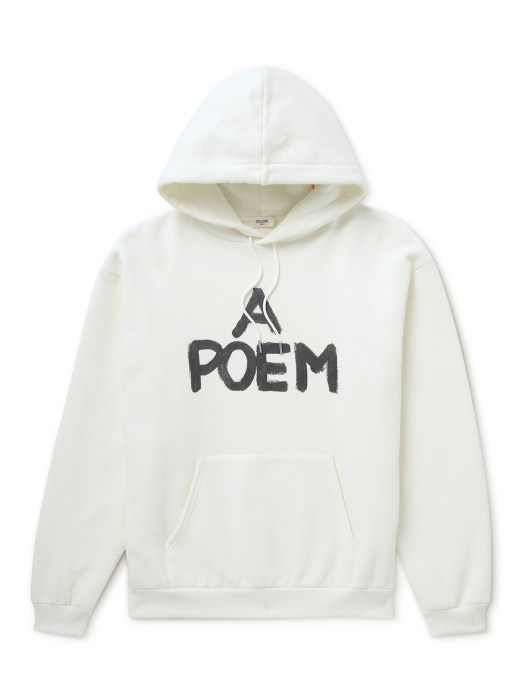 CELINE HOMME LOOSE FIT FLEECEBACK COTTON HOODY WITH 'A POEM' PRINT