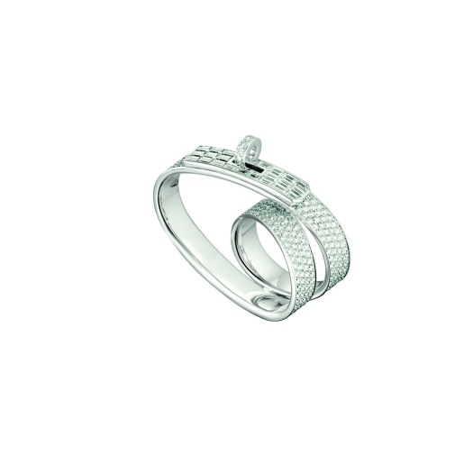 Kelly Gavroche double ring in white gold and diamonds