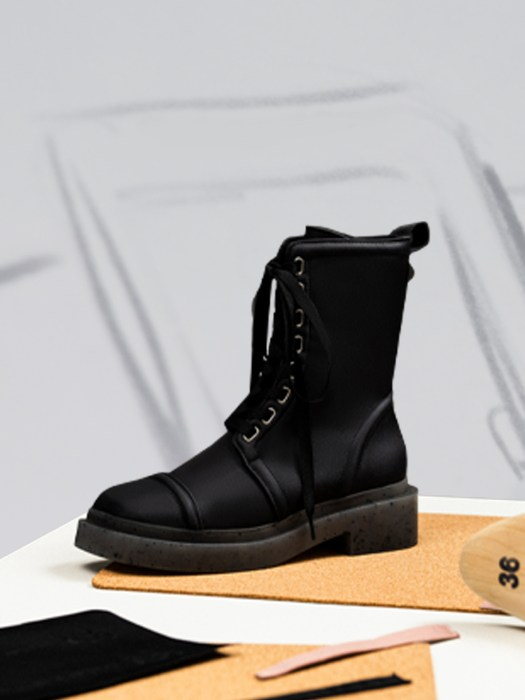 Charli Recycled Nylon Lace-Up Ankle Boots - Black, $89.90