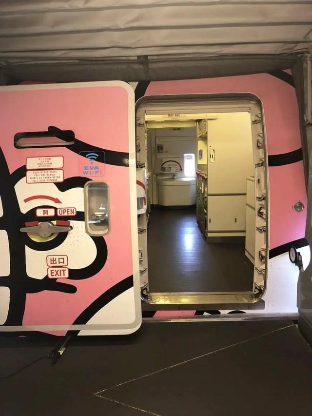 eva air hello kitty flight doors