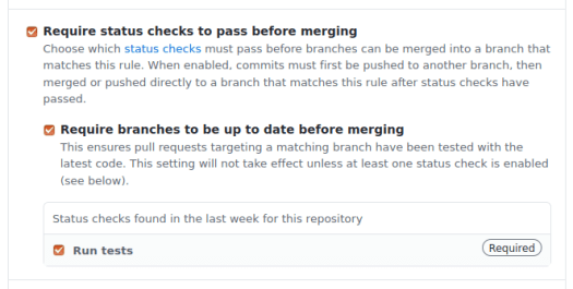 Protected branches require status checks