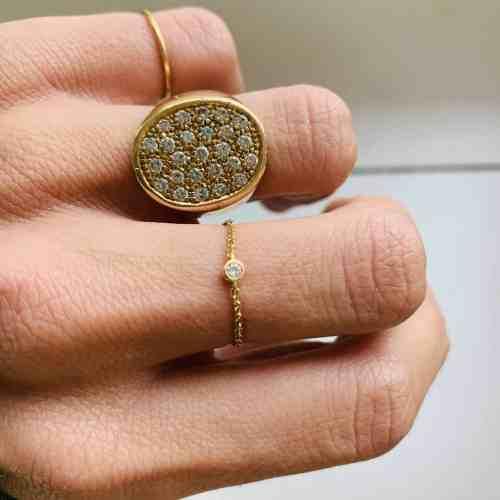 Nynybird Bague chaîne or 18 carats et Diamants