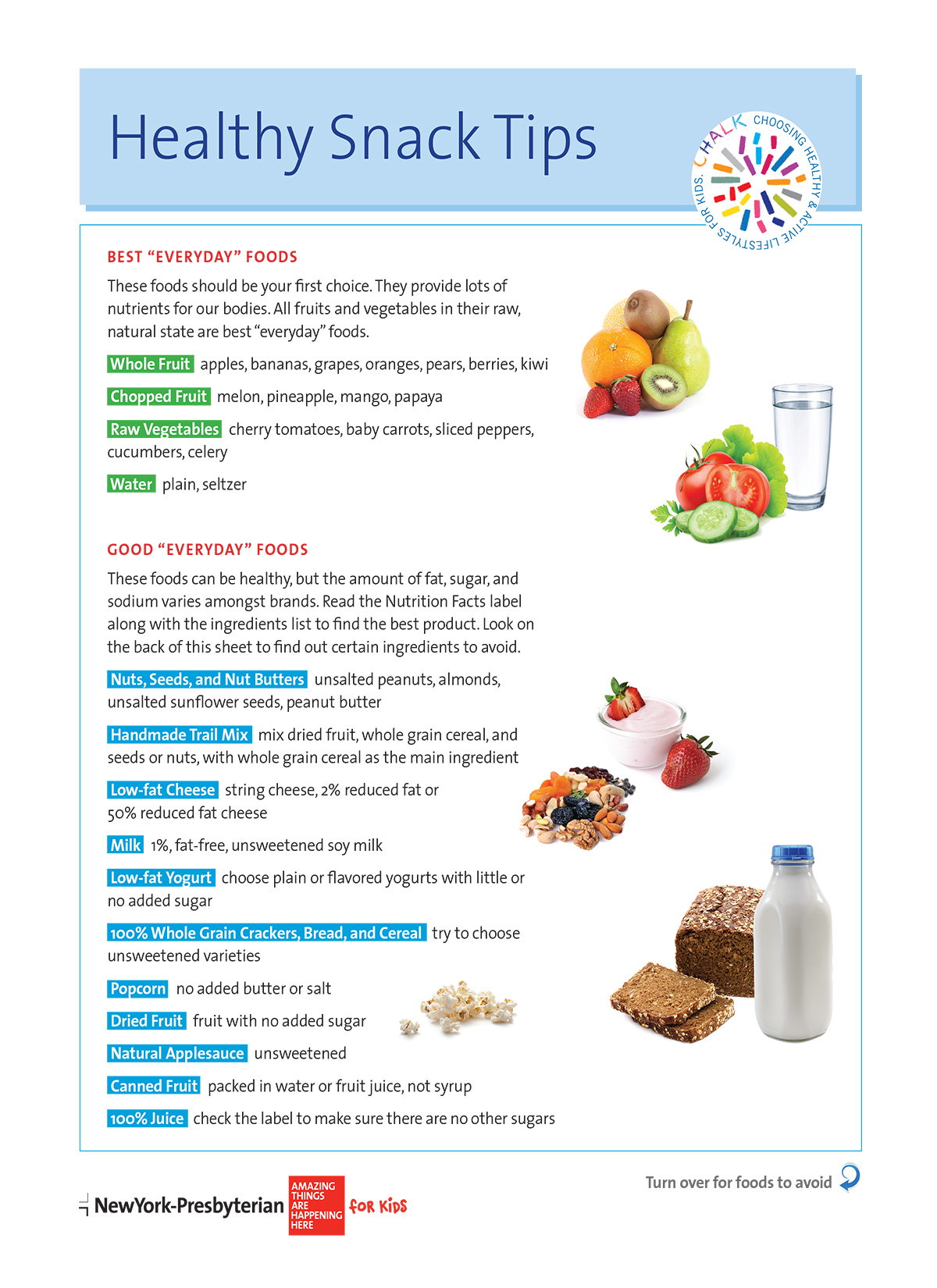 Healthy Snack Tips Tip Sheets