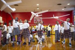 A drone flies in Brooklyn; kids fascinated