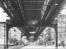 Archival image of elevated train line on Myrtle Ave.