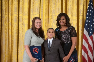 First Lady Michelle Obama, Subway Sleuth Ian Acquino, and Deputy Director Regina Asborno at White House Award Ceremony