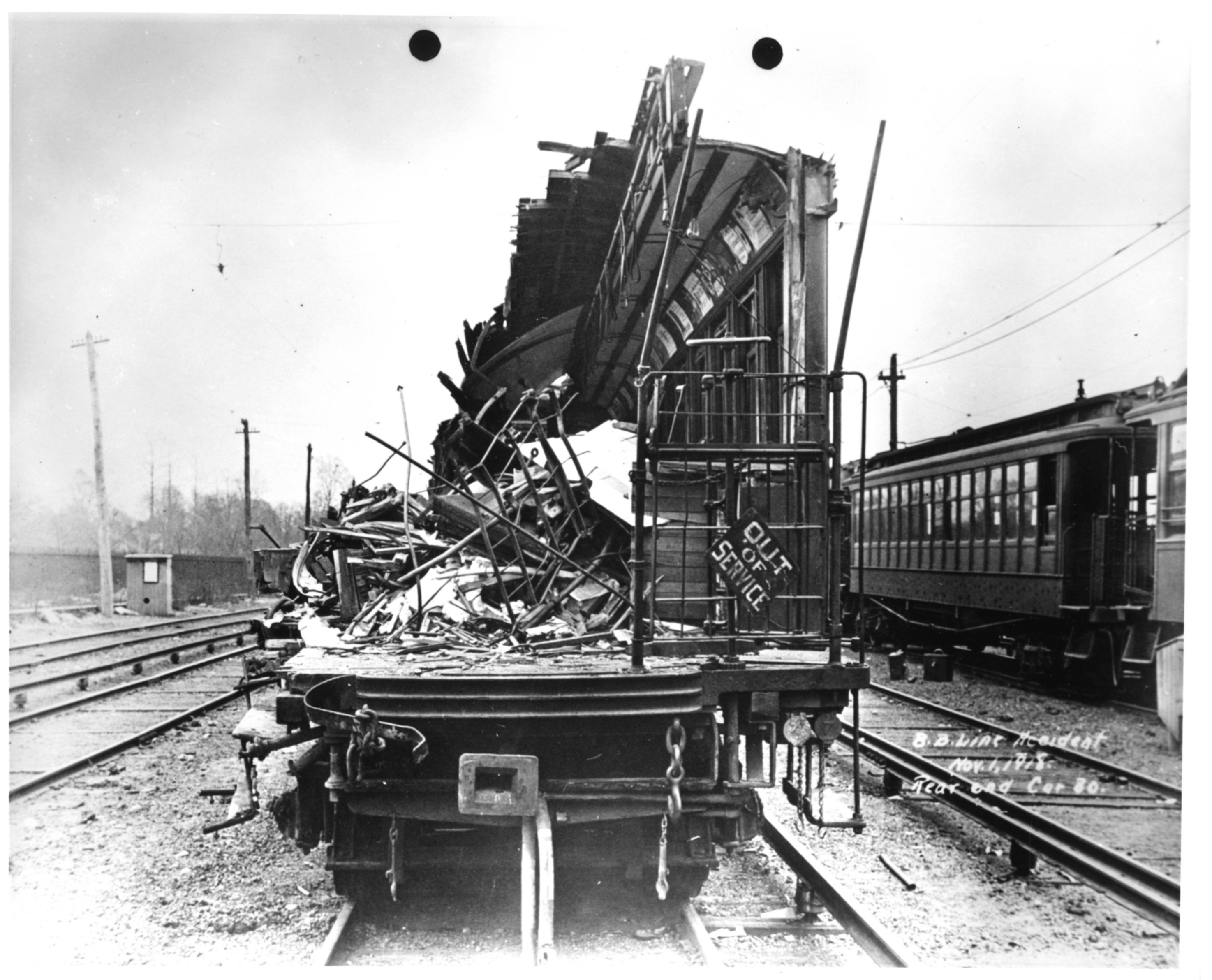 Wooden subway car with extensive damage following Malbone Street Wreck. Courtesy of New York Transit Museum.