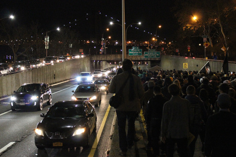Protesters block half of the FDR Drive near the Williamsburg Bridge.