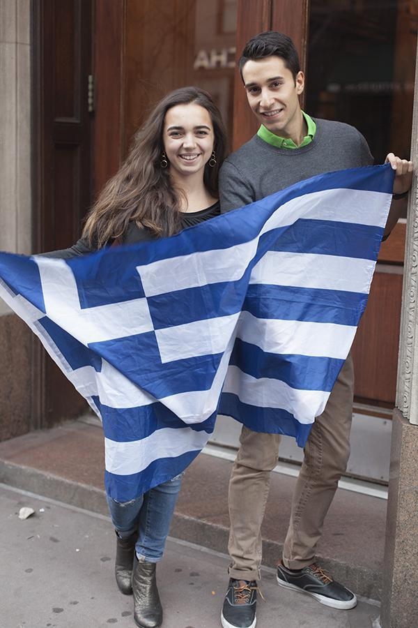 Marita Vlachou and George Maniadis co-presidents of the NYU Hellenic Heritage Society.
