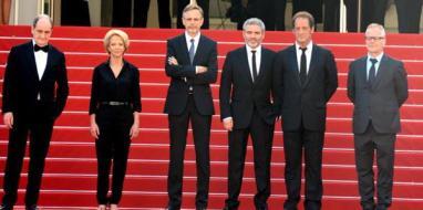 Pierre Lescure, Frédérique Bredin, Christophe Rossignon, Stéphane Brizé, Vincent Lindon and Thierry Frémaux at the 2015 Cannes Film Festival.