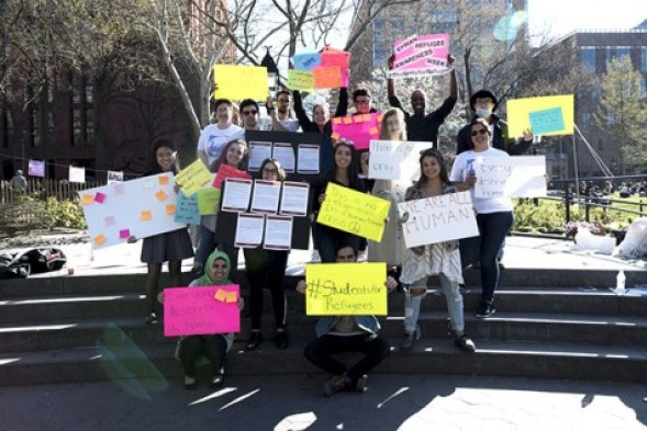 The NYU Syrian Refugee Awareness Week organizing committee organized a rally in solidarity with Syrian Refugees in Washington Square Park on April 15.