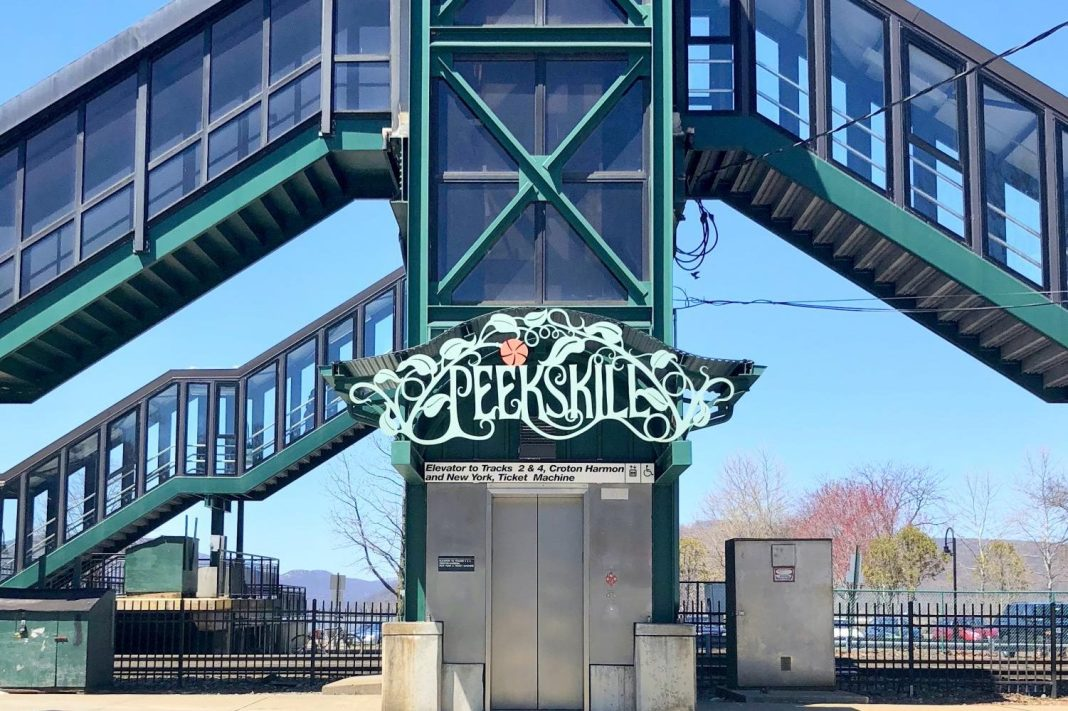 The entrance to Peekskill at the steps of the train station.