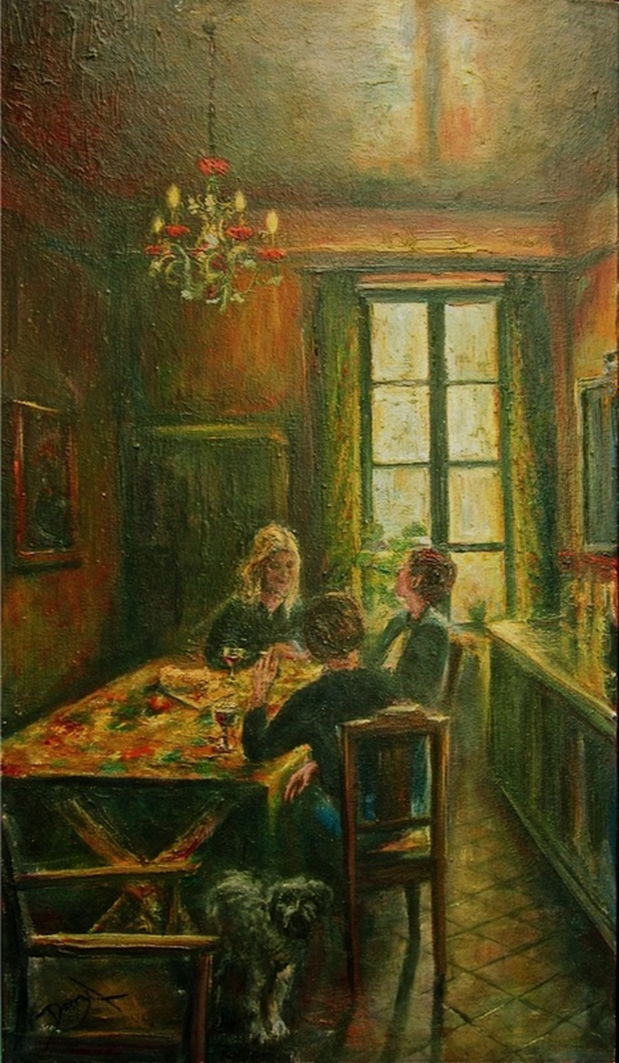 Oil Painting Interior Portrait French Provencal Kitchen