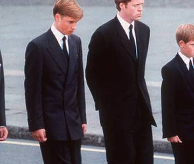 Prince Philip Prince William Earl Spencer Prince Harry And Prince Charles Walk Behind