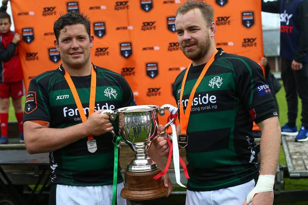 South Canterbury captains Miles Medlicott, left, and Nick Strachan, who came off the bench after a long injury layoff, pose with the Lochore Cup.
