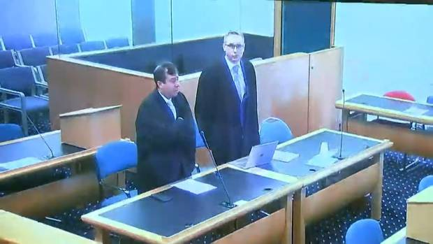 Tarrant's lawyers Shane Tait and Jonathan Hudson in court today.
