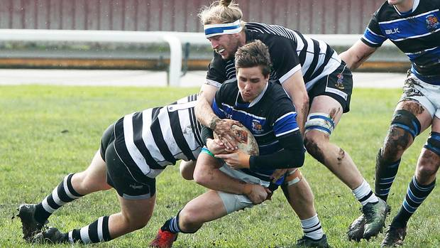 Wanganui first-five Dane Whale cannot breach the Hawke's Bay Saracens defence at Spriggens Park on Saturday.