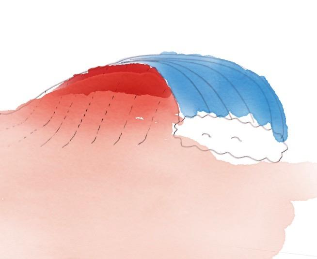 波の力が強い部分を示したイラスト