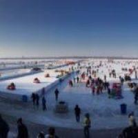 Massive frozen River in downtown Harbin