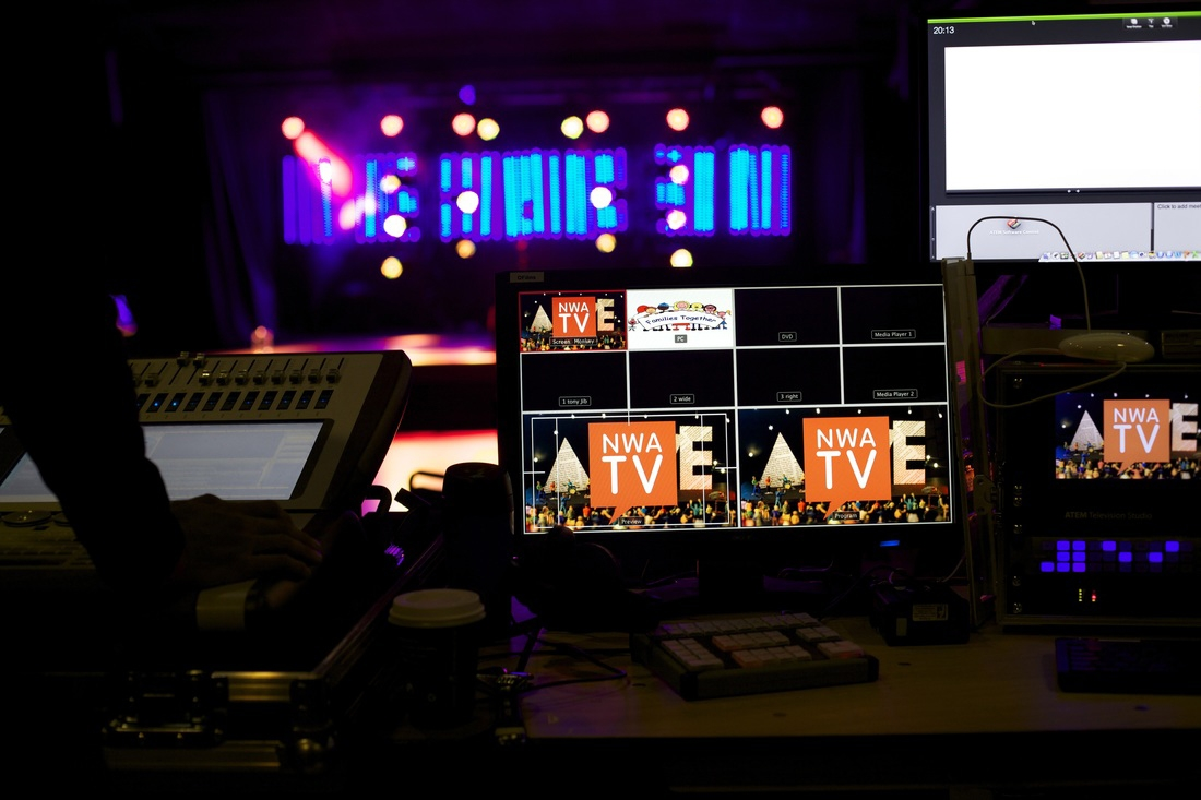 Production desk and view of empty stage